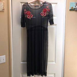 Sheer Midi Dress with Appliqué Flowers